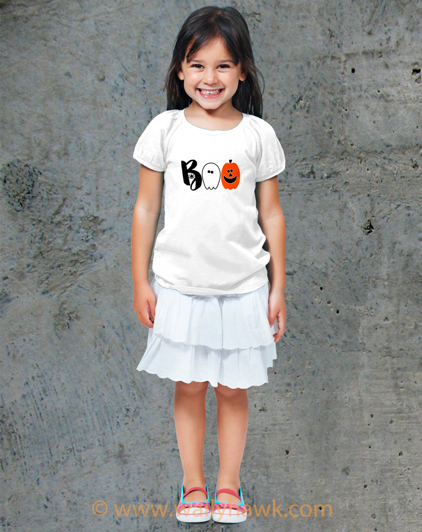 Boo Cute Halloween Youth Shirt - Girl White