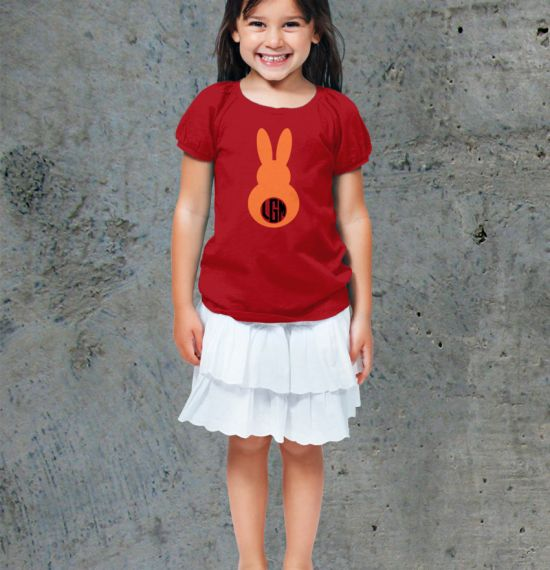 Monogram Bunny II Youth Shirt - Girl Red