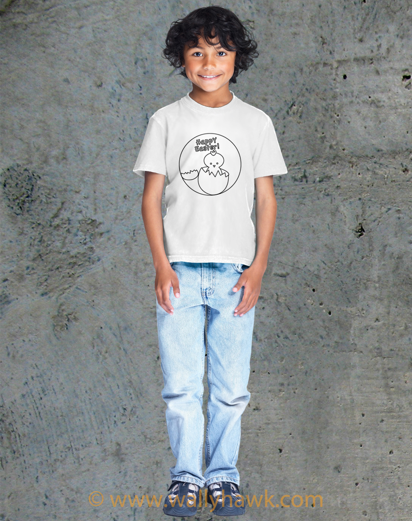 Chick in Egg Coloring Book Shirt - Boy