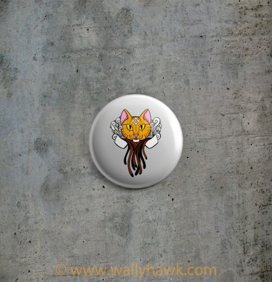 Coffee Cat Button - Tiger