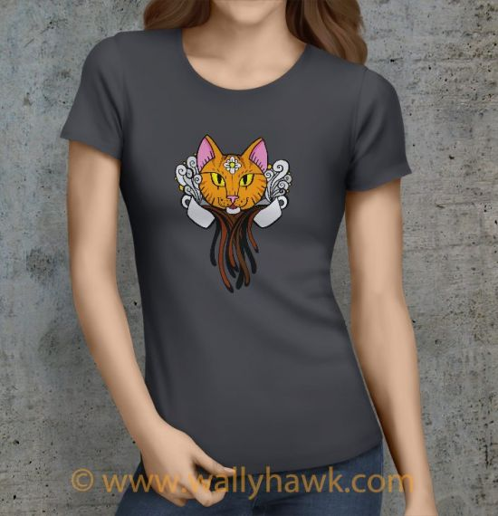 Coffee Cat Shirt - Female Charcoal