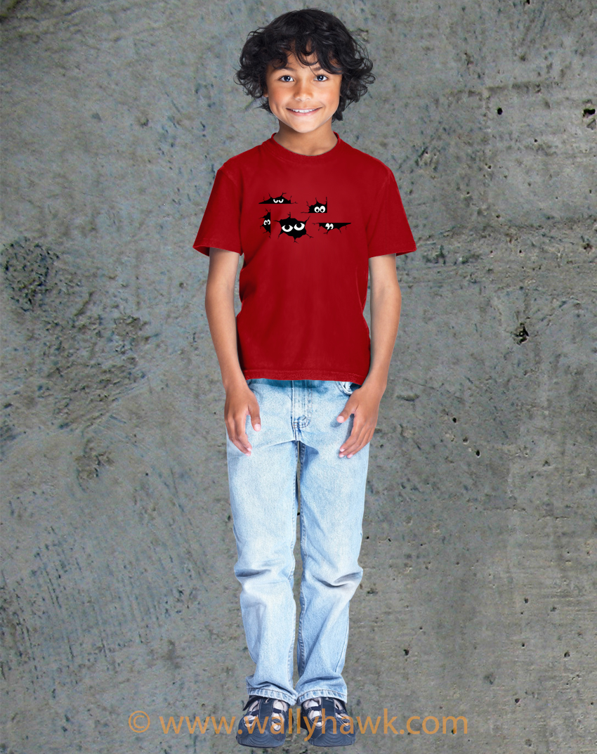 Creepy Eyes Youth Shirt - Boy Red
