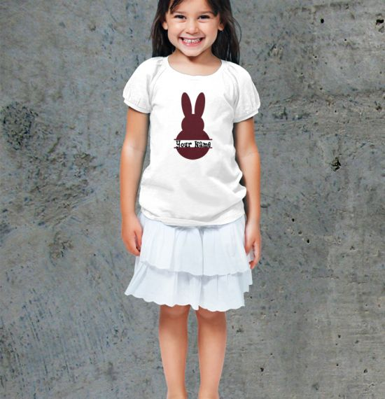 Easter Bunny Name Youth Shirt - Girl White