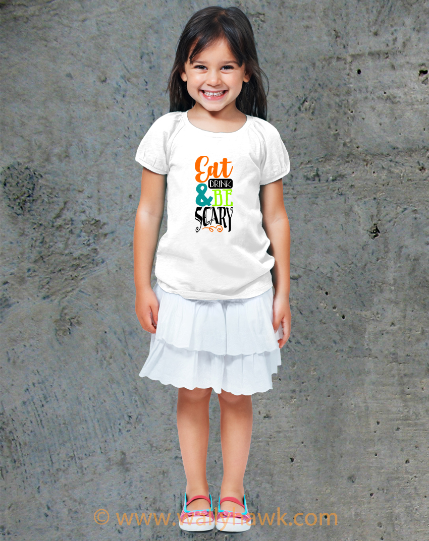 Eat Drink Scary Youth Shirt - Girl White