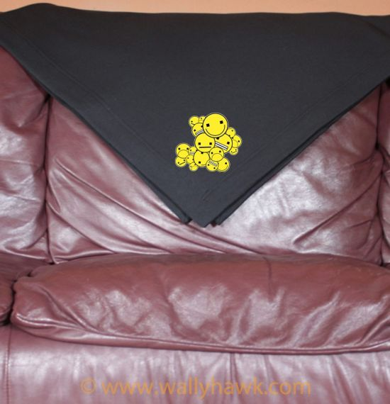 Emoticon Cluster Blanket - Black