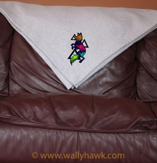 Galaxy Wolf Blanket - Gray