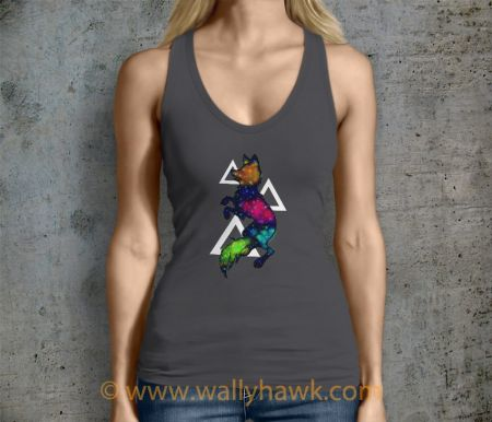 Galaxy Wolf Tank Top - Female Charcoal