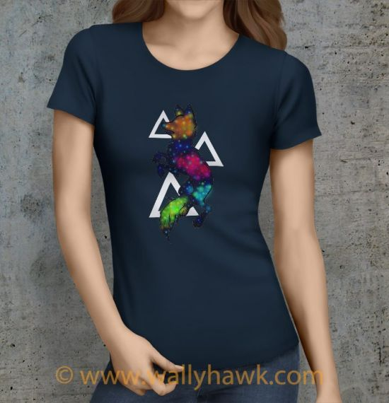 Galaxy Wolf Shirt - Female Navy