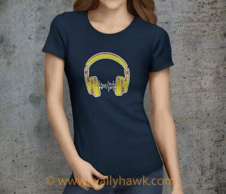 Headphones Shirt - Female Navy