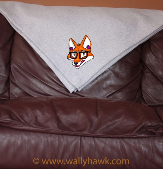 Hipster Fox Blanket - Gray