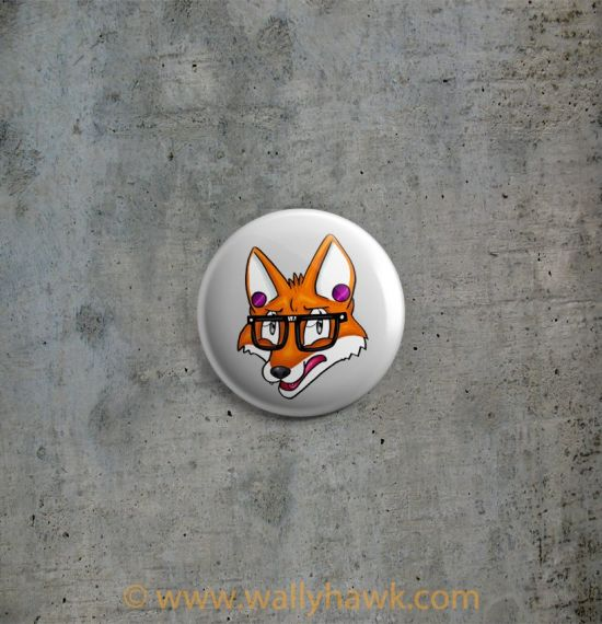 Hipster Fox Button