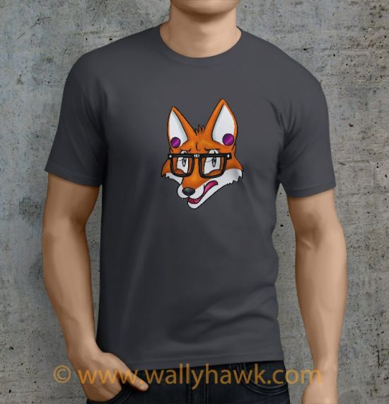 Hipster Fox Shirt - Male Charcoal