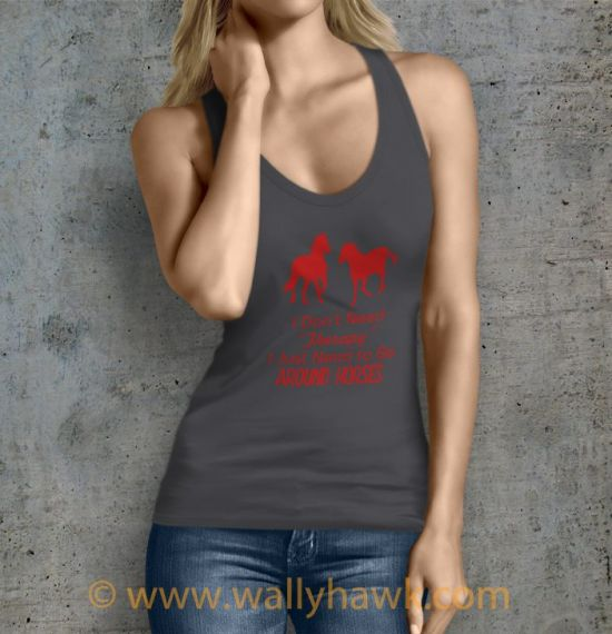 Horse Therapy Tank Top - Female Charcoal