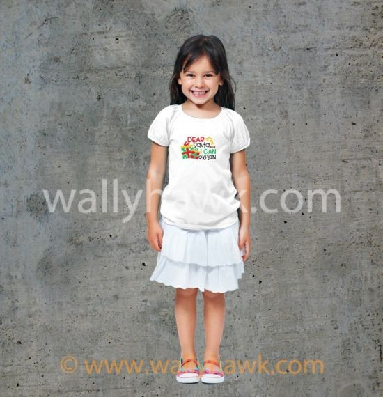 Dear Santa Youth Shirt - Girl White