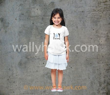 Joy to the World Youth Shirt - Girl White