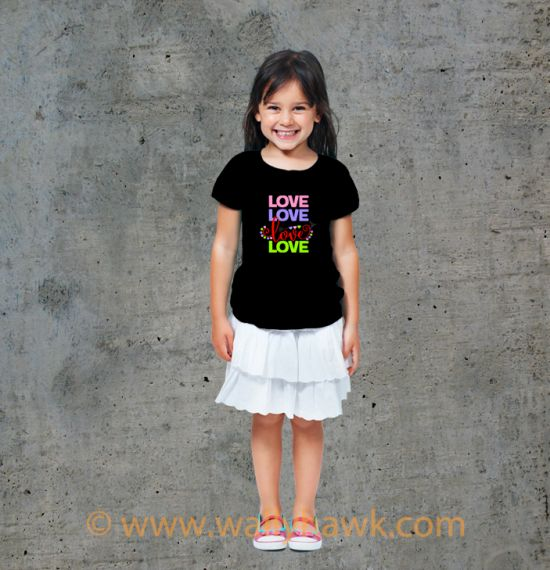 Love Love Love Love Youth Shirt - Girl Black