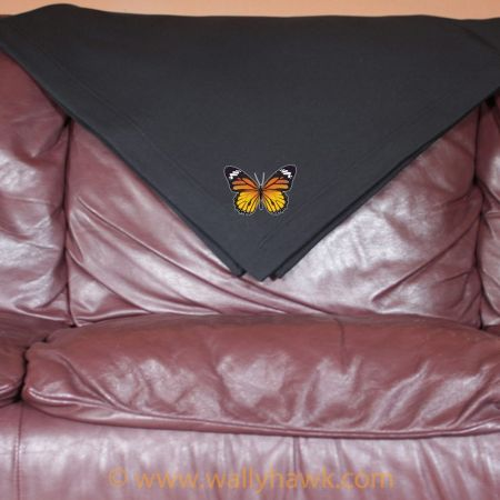 Monarch Butterfly Blanket - Black
