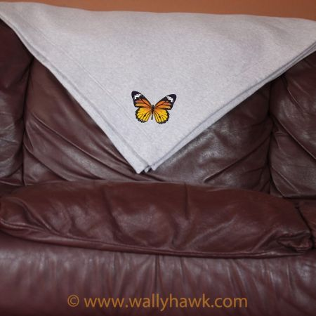 Monarch Butterfly Blanket - Gray