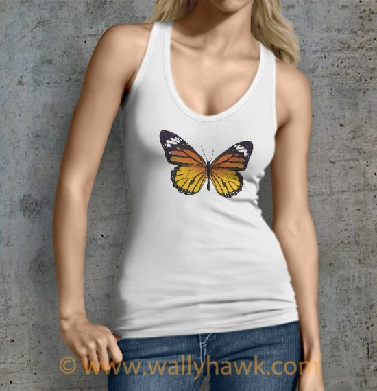 Monarch Butterfly Tank Top - Female White