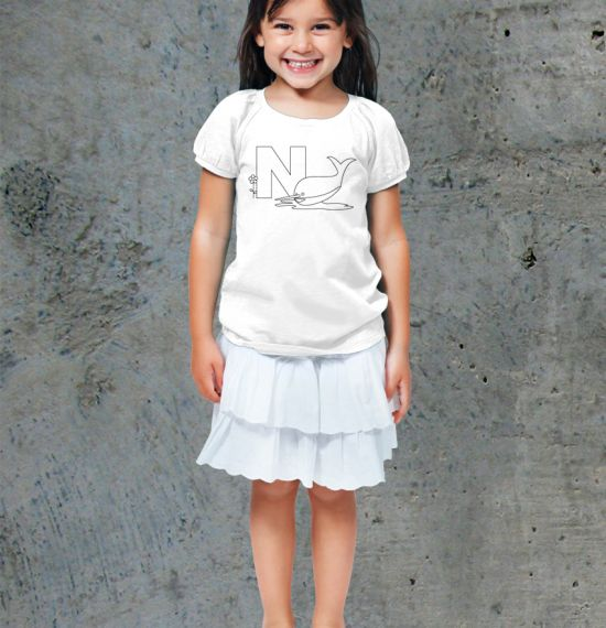 N - Alphabet - Coloring Book Shirts - Girl