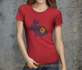 Classy Monogrammed Bunny I Shirt - Female Heather Red