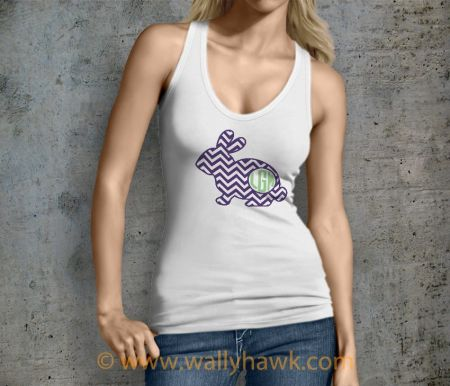 The Classy Monogrammed Bunny I Tank Top - Female White