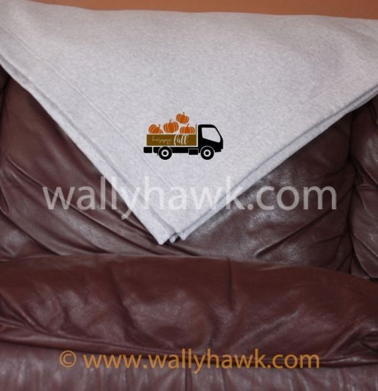 Pumpkin Truck Blanket - Gray