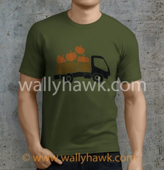 Pumpkin Truck Shirt - Male Military Green