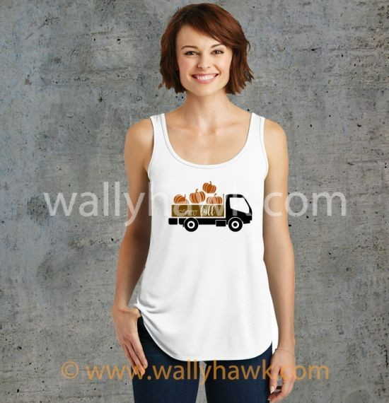 Pumpkin Truck Tank Top - Female White