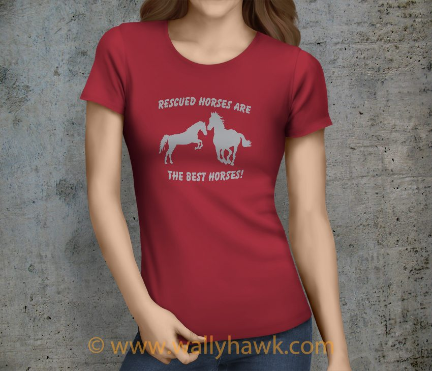 Rescued Horses Shirt - Female Crimson