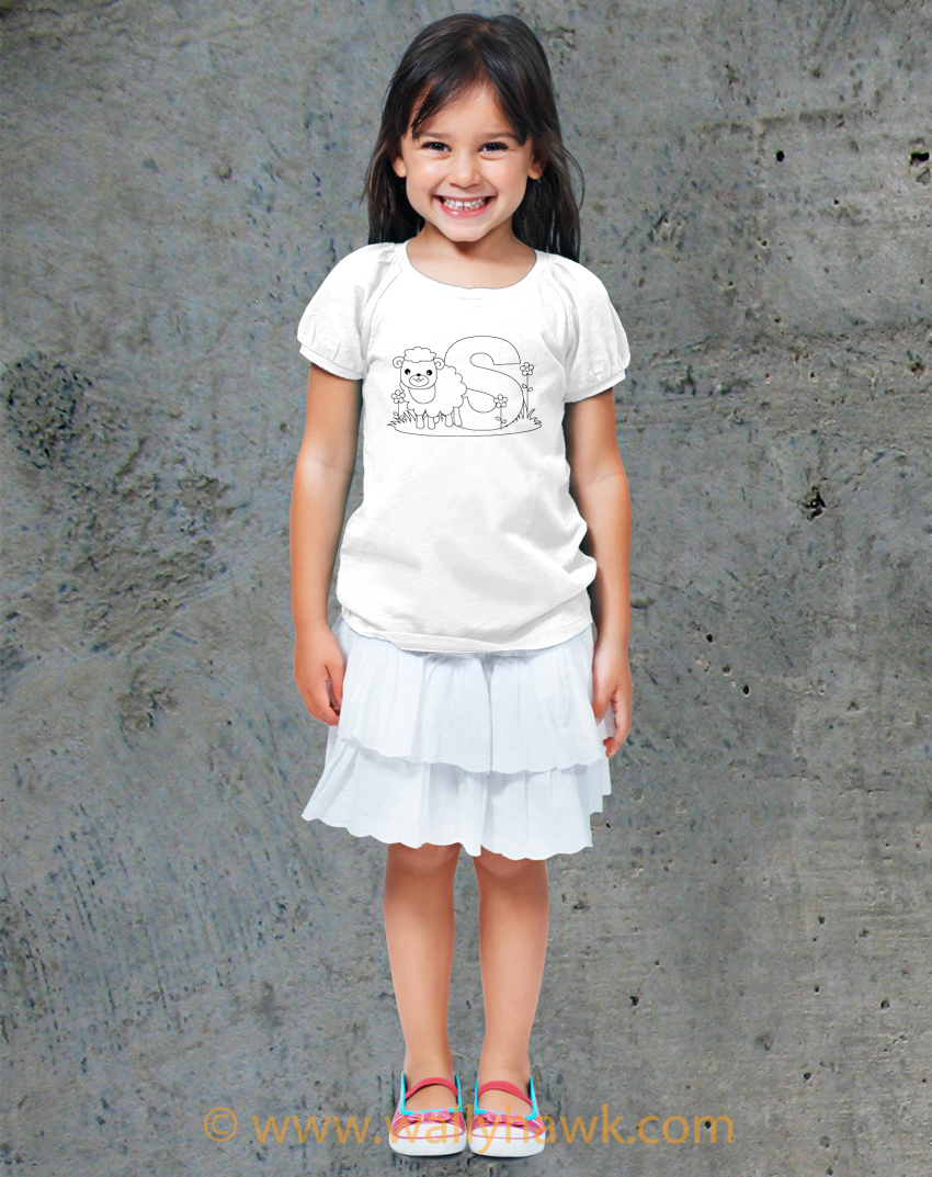 S - Alphabet - Coloring Book Shirts - Girl