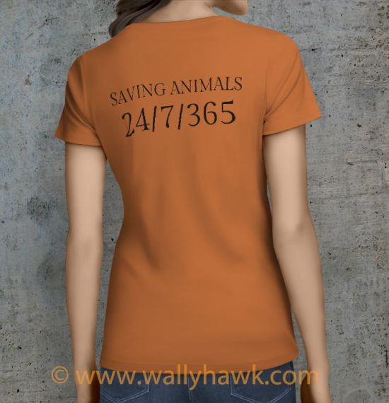 Saving Animals Shirt - Female Sunset Orange