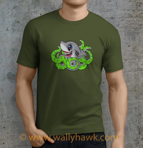 Sharktopus Shirt - Male Mil Green