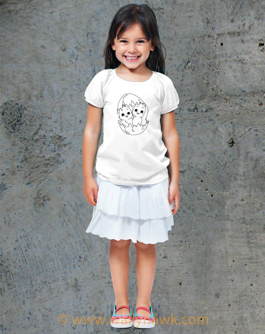 Two Easter Chicks - Coloring Book Shirts - Girl