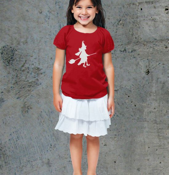 Halloween Silhouette Youth Shirts - Girl Red