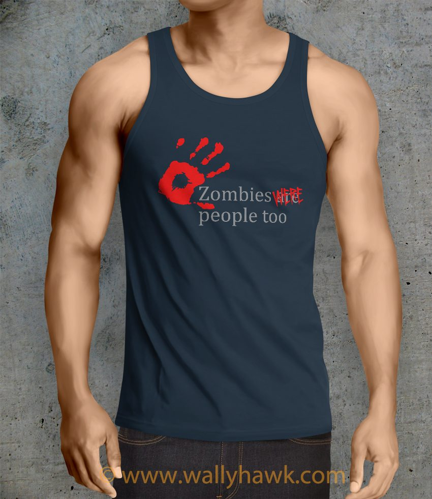 Zombies Were People Tank Top - Male Navy