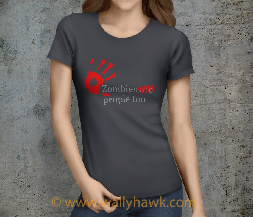 Zombies Were People Shirt - Charcoal Female